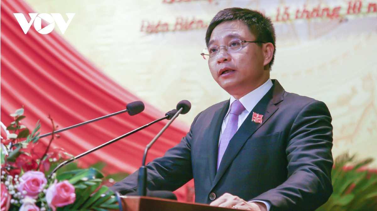 Bí thư Tỉnh ủy Điện Biên Nguyễn Văn Thắng phát biểu nhận nhiệm vụ tại đại hội.